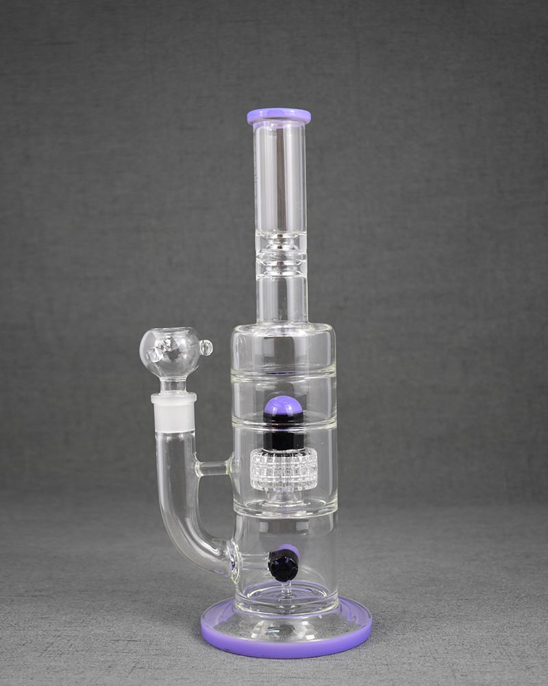 Light Purple Straight Pyrex Glass Bong Pipe